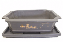 Bonsai Pot, Rectangle, 35cm, Brown, Unglazed, Motif, Saucer